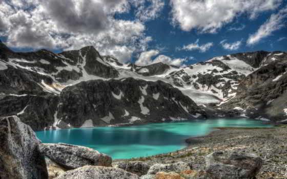 гора, озеро, зелёный, desktop, screensaver, lakes,