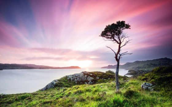 шотландия, landscape, сумерки, kingdom, united,
