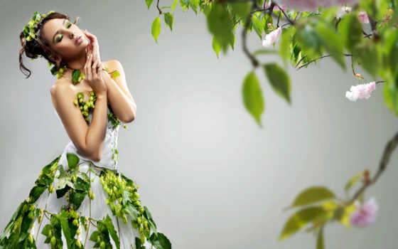 платье, девушка, белом, цветами, цветов, весна, стоит,