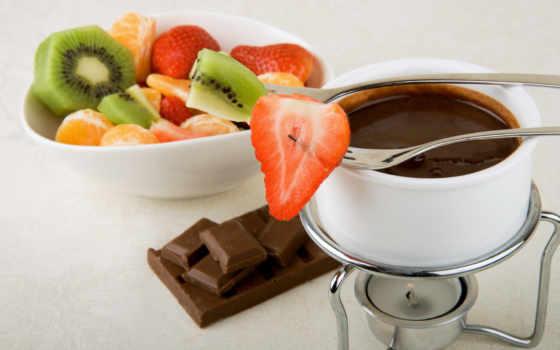 chocolate, hot, фруктами