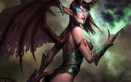 succubus, игры, warcraft, девушка, world, варкрафта, демон,