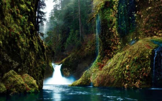 природа, картинка, лес, река, водопад, ущелье, горах,