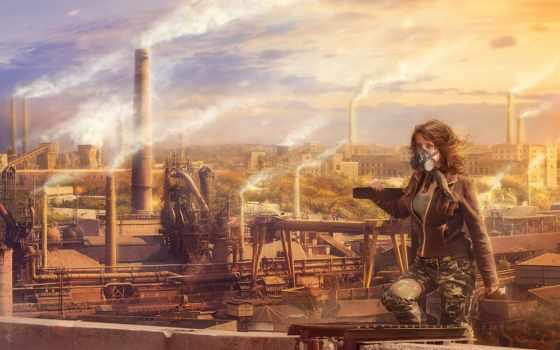 город, заводы, смог, растение, трубы, города, абстракция, anime,