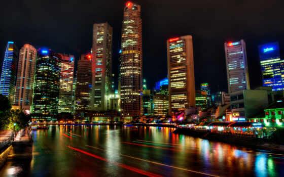 singapore, ночь, река