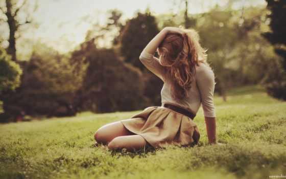 девушка, поле, настроение