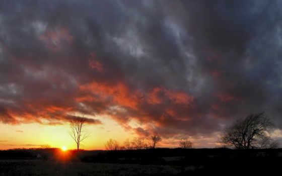 небо, закат, взгляд, heavy, дерево, поле,