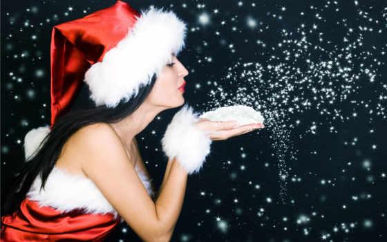 new, год, снежинки, девушка, картинка, дек,