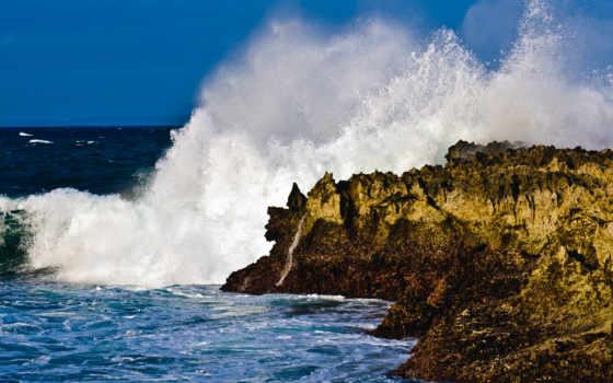 скалы, ocean, живые, bali, небо, волна, берег, фоны, природа, скалистый,