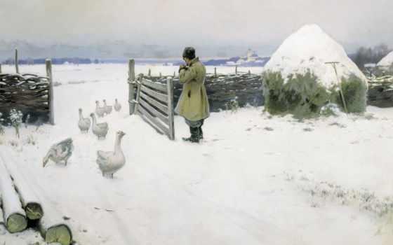winter, дубовской, landscape, снег, картинах, горбатов, русских, художников, sun, зимушка,