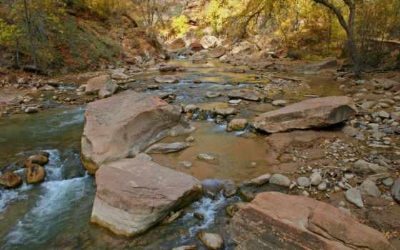 скалы, река, деревья