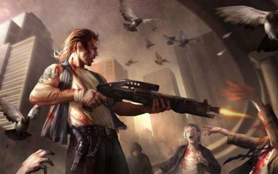 shotgun, зомби, кровь