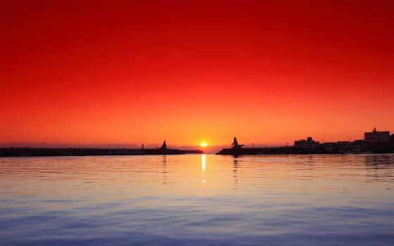 порт, закат, desktop, природа,