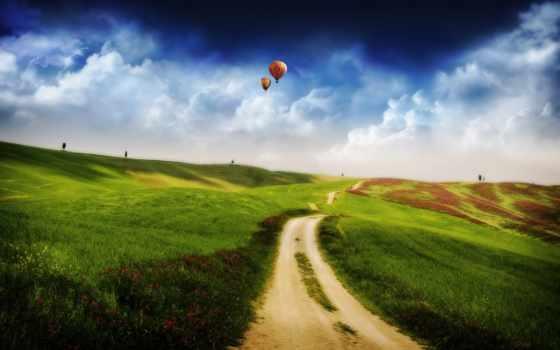 поле, небо, fantasy
