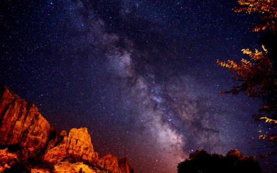 cosmos, млечный, ночь, звезды, путь, природа,