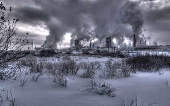 nuclear, дым, растение, станция, атомная, winter, белые, чёрно,