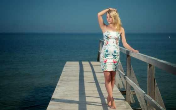море, девушка, pier, desktop, мост, sun, hotels,