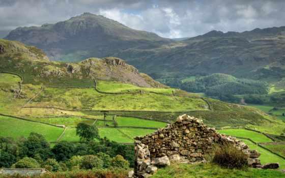 горы, поле, oblaka, scotia, камни, сюжет,