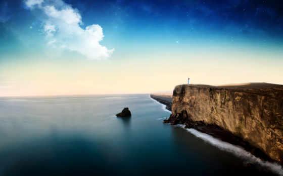 пейзажи -, море, landscape, небо, скалы, lighthouse, звезды, скалистый,