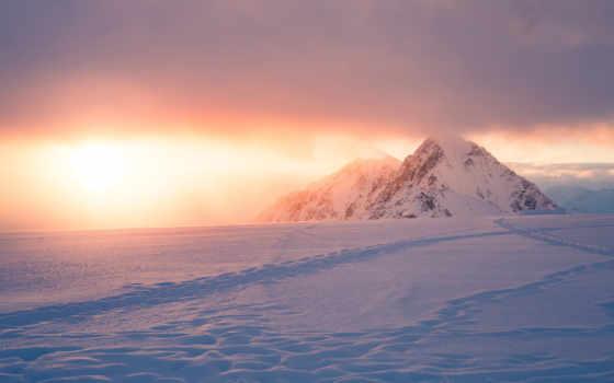 mountains, снег, гора, восход, природа, snowy, закат,