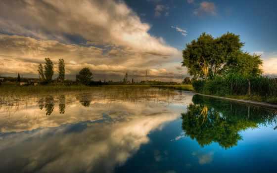 природа, телефон, картинку, trees, пейзажи -, река,