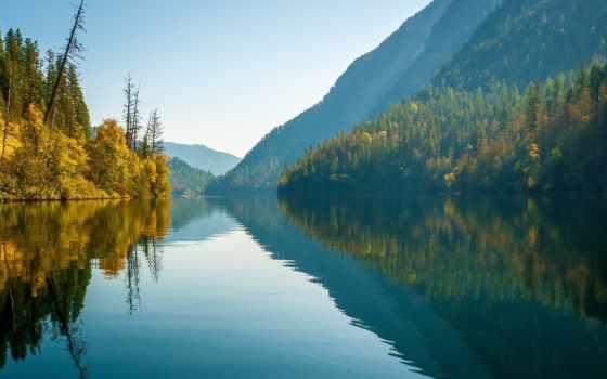 озеро, monashee, echo, columbia, british, mountains, гора, colombia, канада, осень