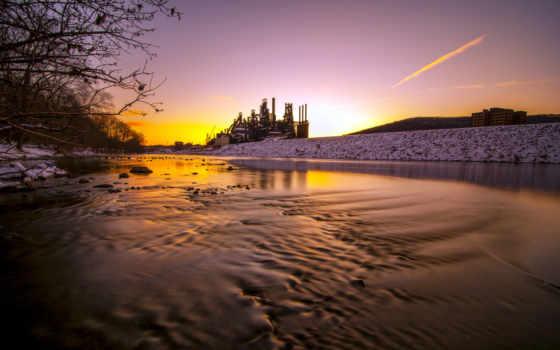 отражение, восход, закат, pennsylvania, оранжевый, мост, дерево