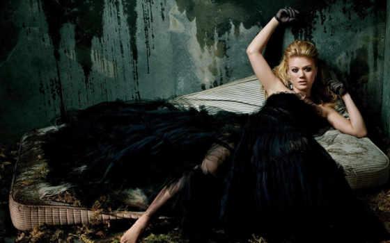 платье, девушка, черном, черный, kelly, матрац, стена, clarkson,