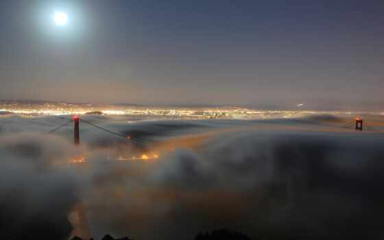 ночь, туман, город