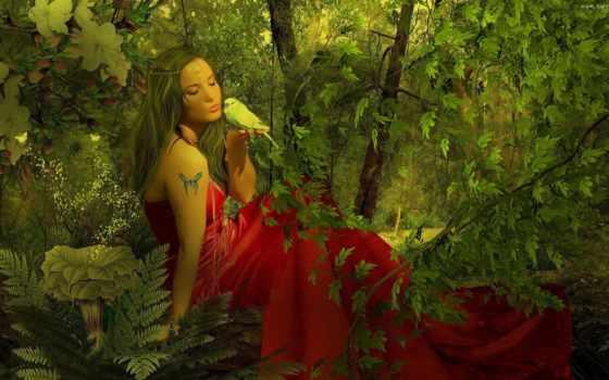 природа, art, девушка, картинка, лес, платье, нефть, canvas,