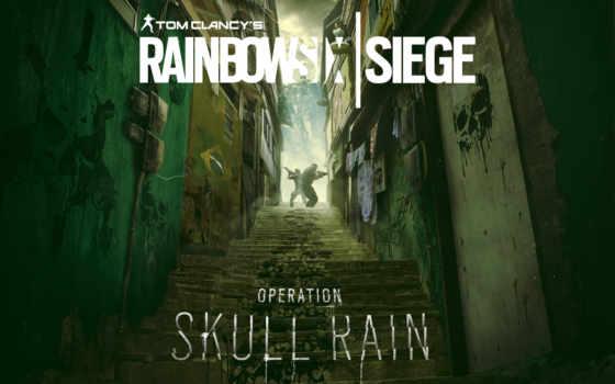 радуга, осадный, six, череп, дождь, operation,
