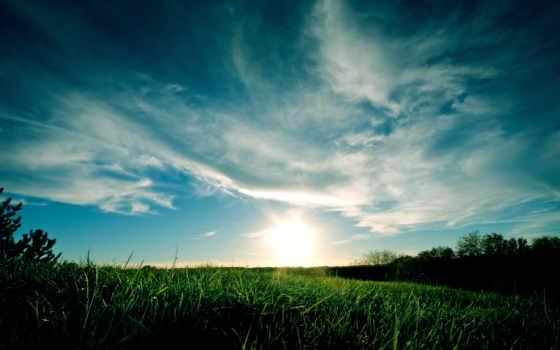 oblaka, android, full, трава, небо, луг, everything, природа, подборка,