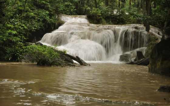 природа, photoshop, фон, водопад, огонь, free, desktop,