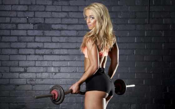 спортсменка, взгляд, rod, topeka, качает, мышцы, бицепс, волосы, стена, макияж, блины,