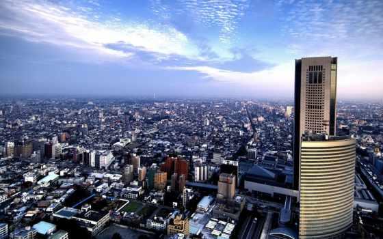 взгляд, город, сверху, панорамный, здания, города, горизонт, дома, oblaka, небо,