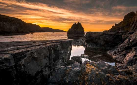 tapety, słońca, небо, skały, darmowe, zachód, morze, które, pulpicie,