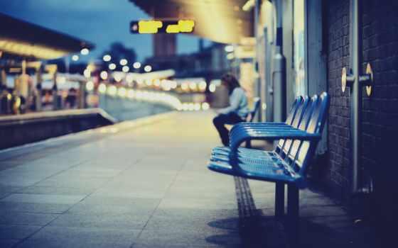 станция, город, кресла, поезд, люди,