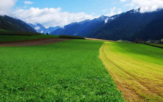 природа, горы, небо, долина, landscape, дома, поле, луг, трава, oblaka, лес,