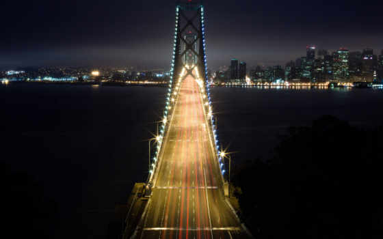 город, города, здания, мост, sana, francisco, architecture, ночь, мосты, туман,