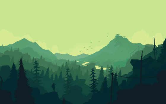 firewatch, атмосферные, landscape, пейзаж, art,