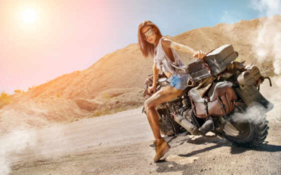 мотоцикл, devushka, пустыня, art, мотоцикл, девушка, baiker, fon, dorogoi, чёрный, дым