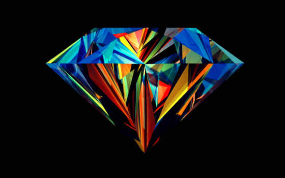 абстракция, color, грани, black, алмаз,