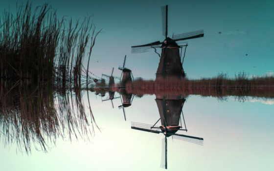 windmills, kinderdijk, water