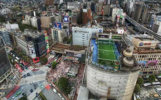 tokio, дома, мегаполис, футбольное, поле, japanese, города, крыши, дорога, картинка, толпы,