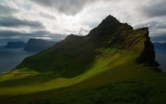 острова, фарерские, дании, kingdom, горы, широкоформатные, архипелаг, атлантический, ocean,