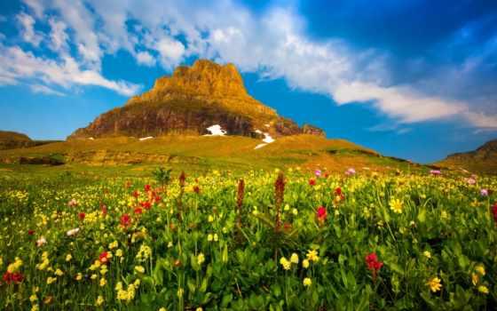 природа, laura, трава, oblaka, горы,
