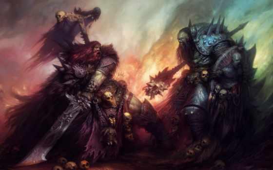 воин, art, битва, оружие, меч, monster, огонь, войны, черепа, concept,