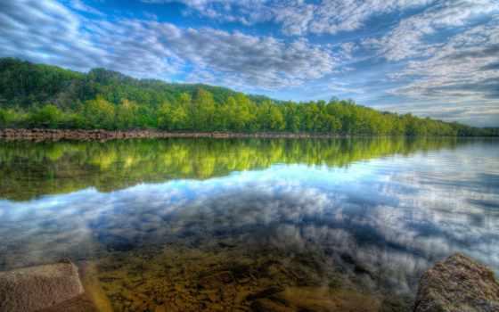 красивые, пейзажи -, landscape, озеро, лес, природы, отражение, природа,