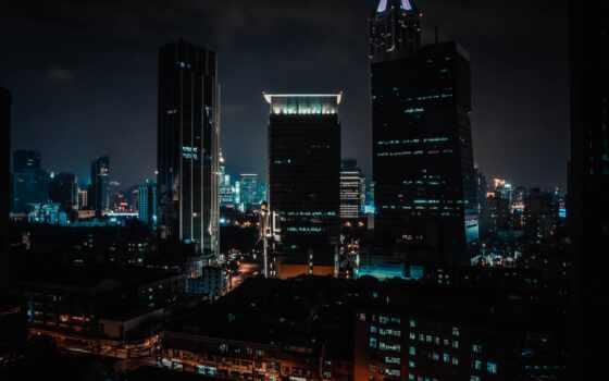 lyric, башня, urban, город, building, во, ночь, build, aerial, block, взлёт