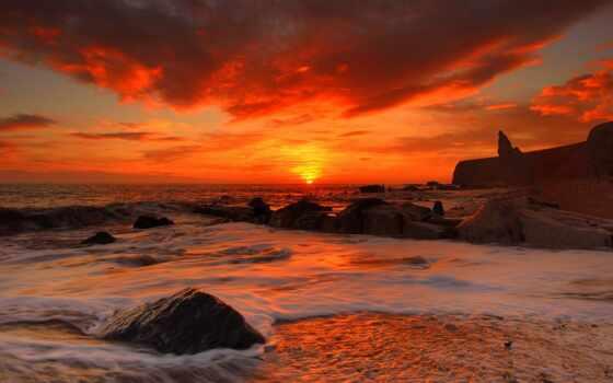 море, закат, природа, пустыня, небо, побережье, горизонт, пляж, previe, dark, песок