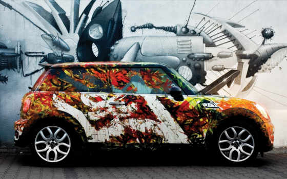 mini, разрисованный, сбоку, вернуться, поделиться, авто, you, car, изображения, supercar, абстракция, графити, this,